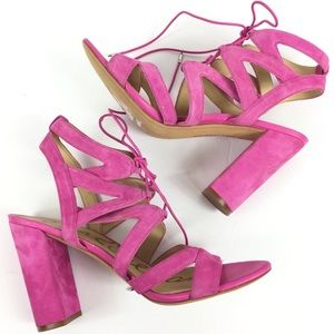 SAM EDELMAN Pink Suede Leather Strappy Lace 9.5